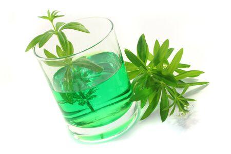 sherbet: Woodruff sherbet in a glass of fresh woodruff with flower Stock Photo