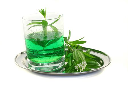 woodruff: Woodruff sherbet in a glass of fresh woodruff with flower Stock Photo