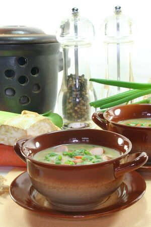 wiener: Potato soup with vegetables and Wiener W�rstchen Stock Photo