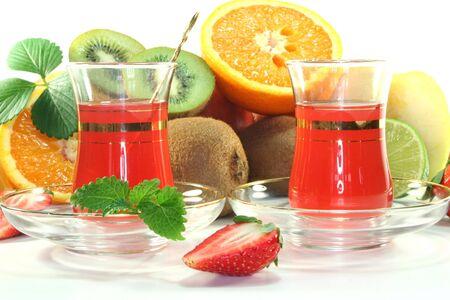 ice sheet: Fruit tea with fresh fruit and lemon balm