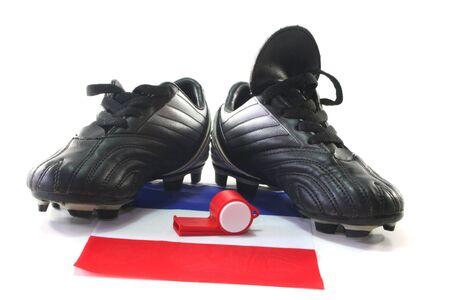 soccer wm: Bandera de Francia con botas de f�tbol y silbato