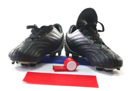 soccer boots: flag of France with soccer boots and whistle Stock Photo