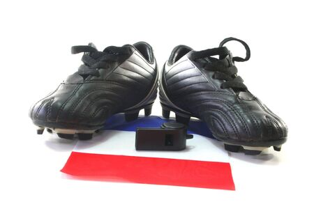 soccer wm: flag of France with soccer boots and whistle Stock Photo