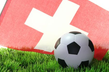 soccer wm: Flag of Switzerland with a football in a field