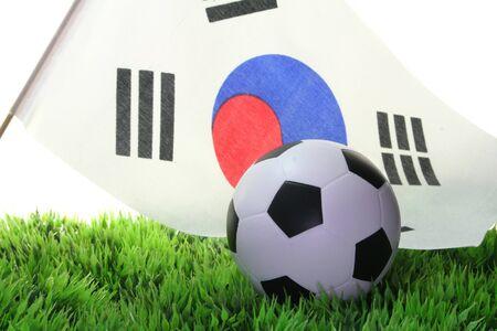 soccer wm: Bandera de Corea del sur con un bal�n de f�tbol en un campo
