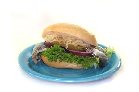 a sandwich with pickled herring, sauerkraut, lettuce, onion and cucumber Stock Photo - 7166801
