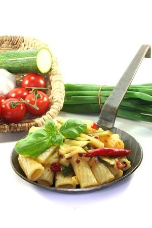 Tortiglione with fiery chili, garlic, zucchini and herbs Stock Photo - 7241618