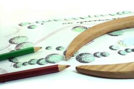 Gartenbau Skizze mit Buntstiften und Kompass Lizenzfreie Bilder