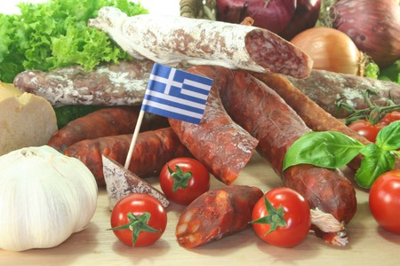 air dried salami: Greek air-dried salami with vegetables and herbs Stock Photo