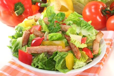 salads: Mixed salad with turkey strips and fresh herbs Stock Photo
