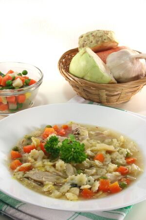 chicken soup: Chicken soup with chicken and fresh vegetables