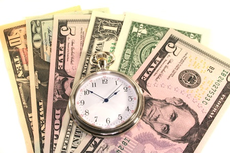 interbank: many dollar bills with pocket watch on a white background