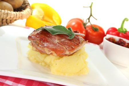 Saltimbocca of veal with bacon, sage and dried tomatoes