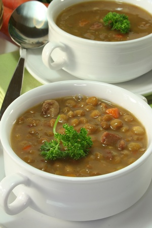 чечевица: Lentil stew with potatoes, carrots and parsley