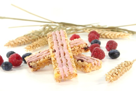 Forest berry cereal bar with blueberries and raspberries Stock Photo - 9342440