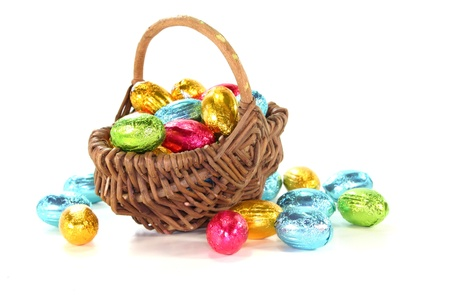 christian festival: Easter basket with colorful Easter eggs on a white background