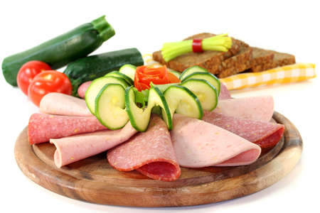meats: plate of fresh cold meats and vegetables