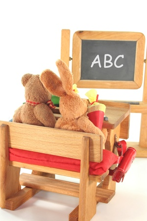 No name plush toy with Conical Bag of Sweets for the first school day in the classroom photo