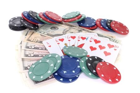straight flush: Straight Flush with poker chips and dollar bills on a white background Stock Photo