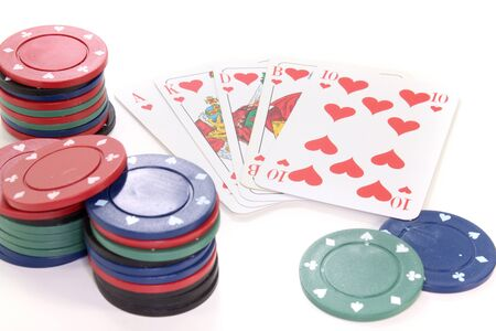 straight flush: Straight Flush with poker chips on a white background