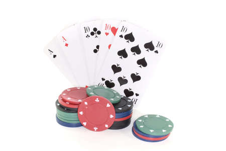 full house: Full House with poker chips on a white background
