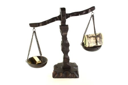 Beam balance with gold bars and dollars on a white background photo