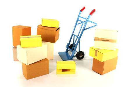 sack truck: sack truck with various packages on a white background