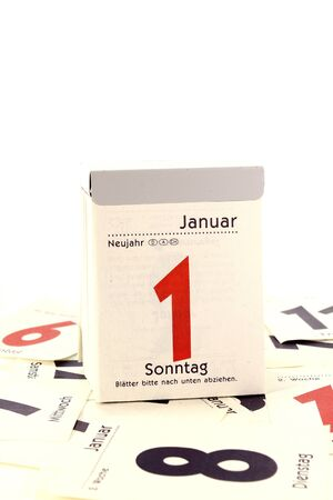 transience: Sheet Calendar for turn of the year with many calendar pages Stock Photo