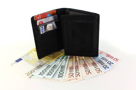 black wallet with cash cards and Euro notes photo