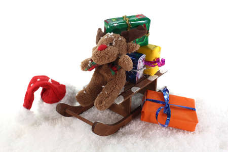 plushie: Santa Claus hat and sleigh with gifts and a elk