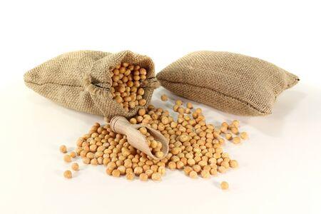 新鮮な乾燥した黄色エンドウ豆、ブッシェルの袋
