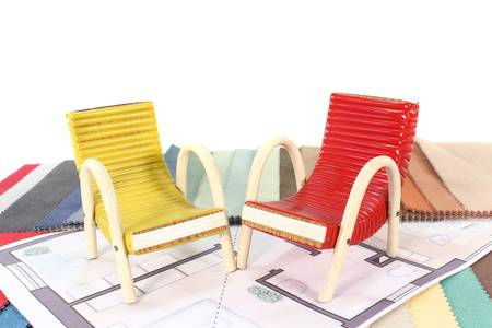 colorful fabric samples with a ground plan of a residential and chair set Stock Photo - 11449392