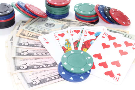 straight flush: Straight Flush with poker chips and dollars Stock Photo