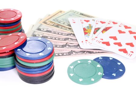 straight flush: Straight Flush with dollar bills and poker chips Stock Photo