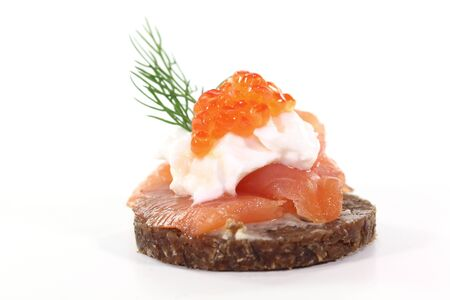 pumpernickel: Pumpernickel bread with smoked salmon, cream cheese, caviar and dill