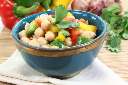 scallions: Asian chick pea salad with peppers, scallions and cilantro