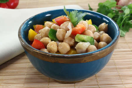chick pea: fresh Asian chick pea salad with peppers, scallions and cilantro