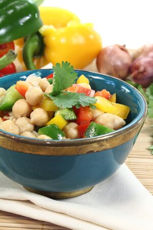 chick pea: fresh chick pea salad with peppers, scallions and cilantro