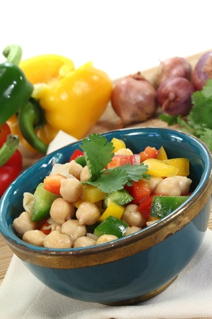 chick pea: Asian chick pea salad with fresh peppers, scallions and cilantro