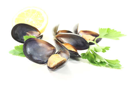Mussels with flat leaf parsley and lemon on a white background photo
