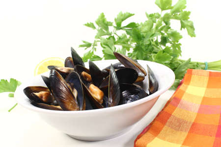 fresh steamed mussels in a bowl with napkin photo