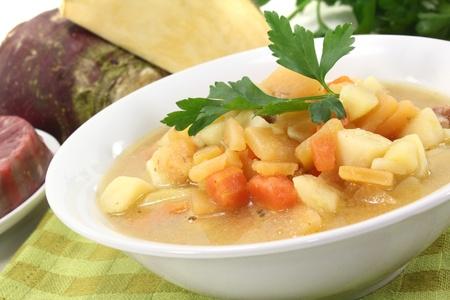 rutabaga: rutabaga soup with beef, carrots, potatoes and parsley