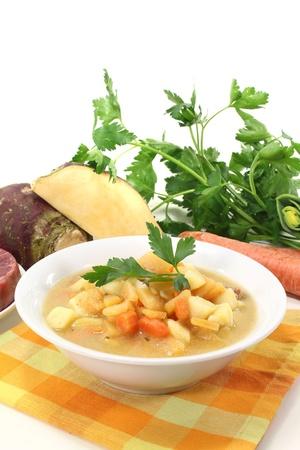 rutabaga: rutabaga soup with beef, carrots, potatoes and fresh parsley