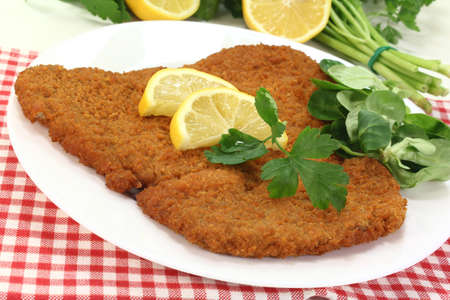 freshly roasted wiener schnitzel with lemon slices and parsley Stock Photo - 13029301