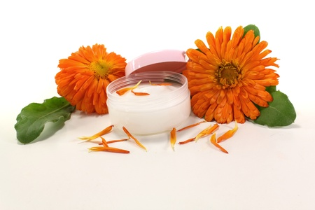 ointment: Calendula ointment with fresh marigold flowers, leaves and petals