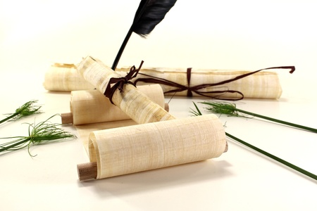 yellowed papyrus scrolls with quill, inkpot and papyrus on a light background photo