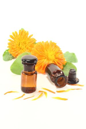 Marigold tincture with fresh calendula flowers and leaves on a light background Stock Photo - 13269661