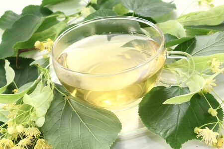 linden blossom: hot linden blossom tea with linden flowers and leaves