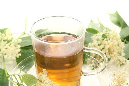 fresh elderflower tea with elder flowers and leaves Stok Fotoğraf