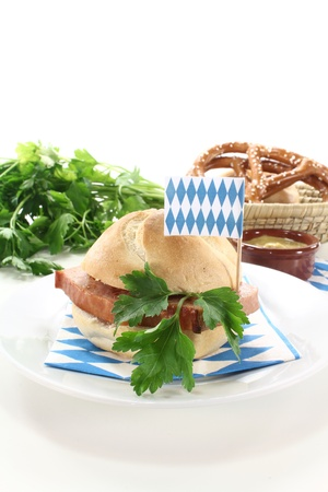 delicious Roll with beef and pork loaf, parsley on a light background Stock Photo - 14531838